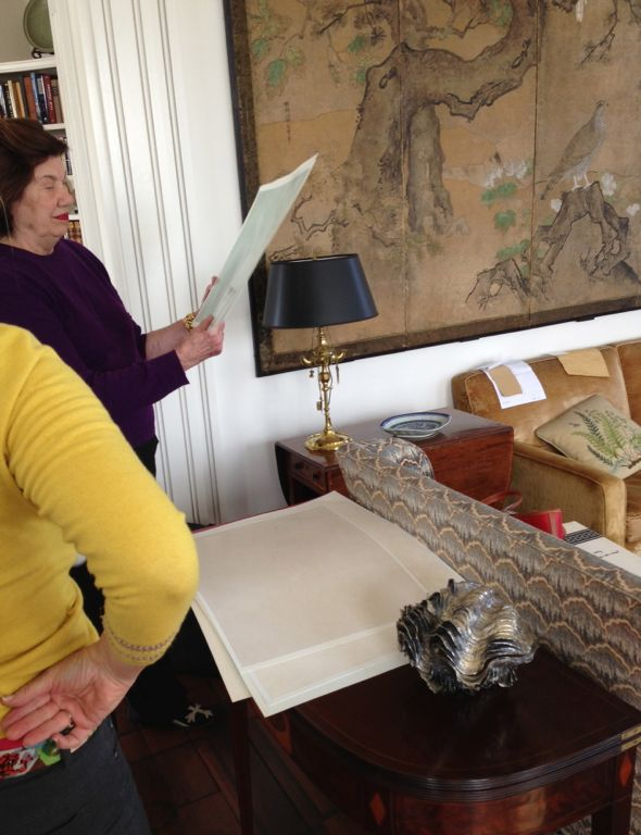 Client looking at plaster samples