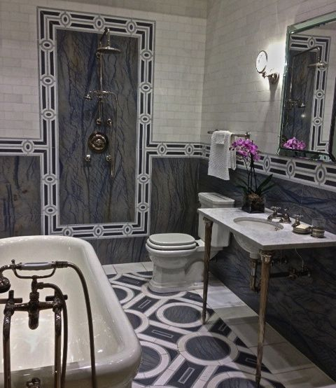 Blue and Marble Bathroom Tile- MDI